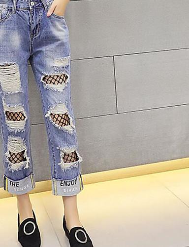Women's Straight Jeans Pants - Mesh Jeans, Denim Ripped