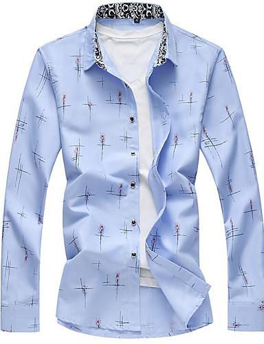 Bomull Langermet,Skjortekrage Skjorte Ensfarget Alle årstider Fritid Daglig Herre