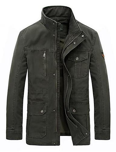 Men's Plus Size Cotton Jacket - Solid Colored