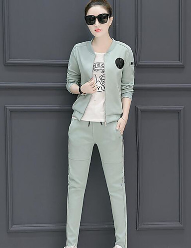 Women's Daily Casual Fall T-shirt Pant Suits