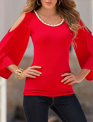 Women's Daily Going out Casual Sexy Street chic Spring Fall T-shirt,Color Block Round Neck 3/4 Length Sleeves Polyester Medium