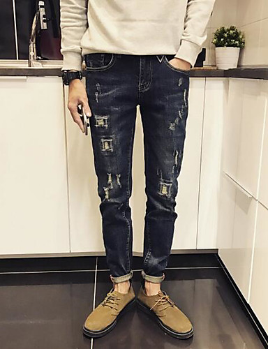 Herre Enkel Mikroelastisk Skinny Jeans Bukser,Tynn Mellomhøyt liv Ensfarget