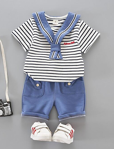 Girls' Stripe Clothing Set, Cotton Summer Stripes Red Navy Blue