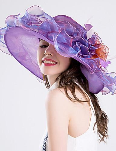 abordables Chapeau & coiffure-Plume / Soie / Organza Kentucky Derby Hat / Fascinators / Chapeaux avec 1 Mariage / Occasion spéciale / Fête / Soirée Casque