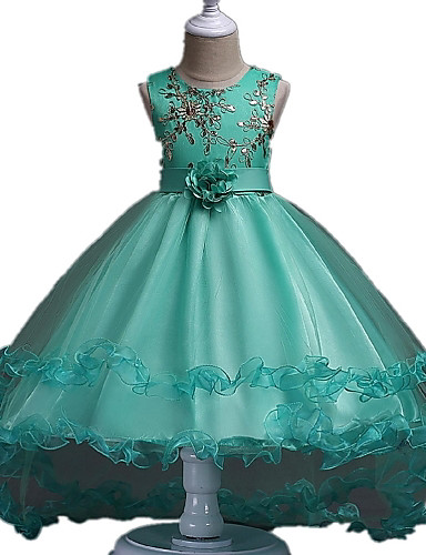 Ball Gown Asymmetrical Flower Girl Dress - Organza Sleeveless Jewel Neck with Embroidery / Lace / Ruched by LAN TING Express