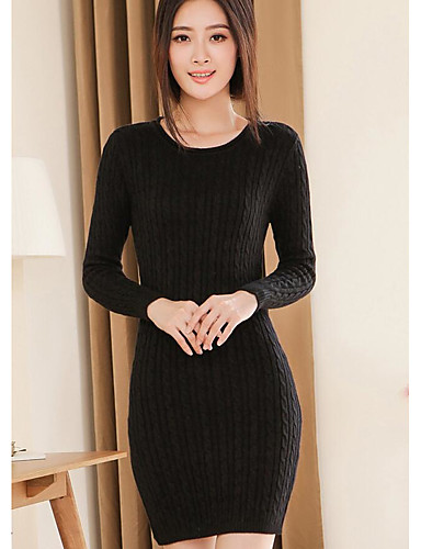 Women's Casual/Daily Simple Bodycon Dress,Solid Round Neck Above Knee Long Sleeves Nylon Winter Fall Low Rise Micro-elastic Medium