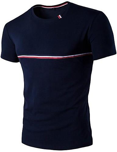 Miehet Lyhythihainen Ohut Pyöreä kaula-aukko Puuvilla Kevät Kesä Yksinkertainen Rento/arki T-paita,Yhtenäinen Color Block