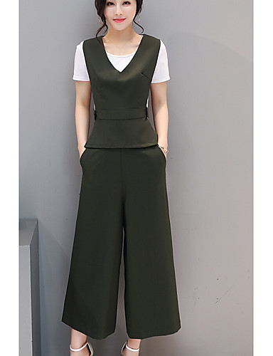 Women's Daily Casual Casual Summer T-shirt Pant Suits,Solid Round Neck Short Sleeve 100%Wool Inelastic