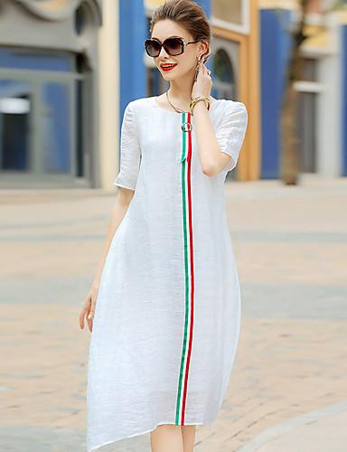 Women's Going out Cute Sheath Dress,Print Round Neck Midi Short Sleeves Silk Summer Mid Rise Micro-elastic Medium