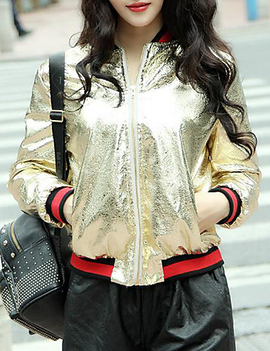 Women's Daily Modern/Contemporary Spring Short Leather Jacket Round Neck Others Print