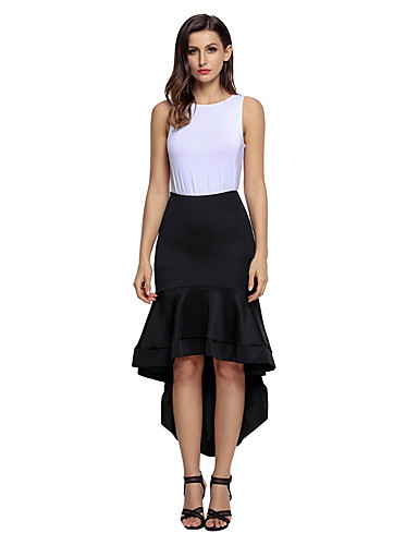 Women's Pencil Skirts - Solid, Pleated