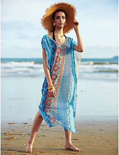 abordables Hauts pour Femmes-Femme Bohème Géométrique Licou Bleu Vêtement couvrant Maillots de Bain - Géométrique Taille unique Bleu / Sans Armature