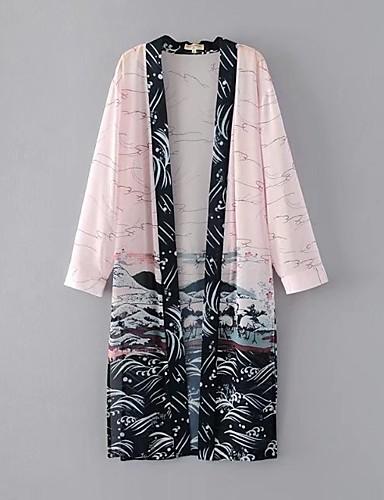 Women's Casual Pattern Spring/Fall Cloak/Capes,Print Shawl Lapel Long Sleeve Long Cotton Chiffon