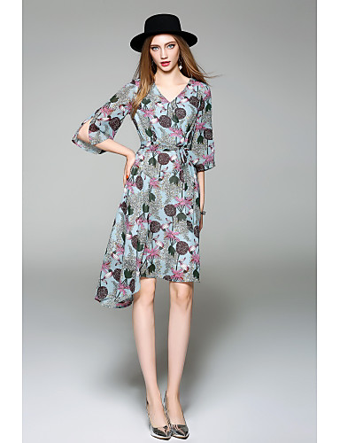 Women's Casual Flare Sleeve Chiffon Dress - Floral V Neck