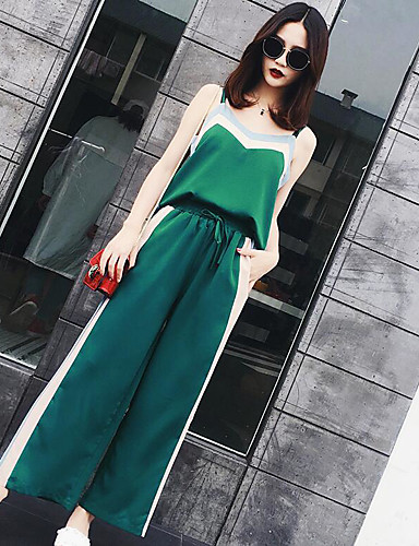 Women's Daily Casual Contemporary Summer Tank Top Pant Suits,Striped Strap Sleeveless