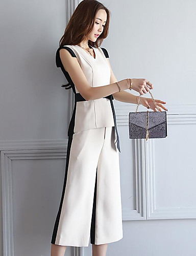 Women's Daily Contemporary Summer T-shirt Pant Suits,Color Block V Neck Sleeveless