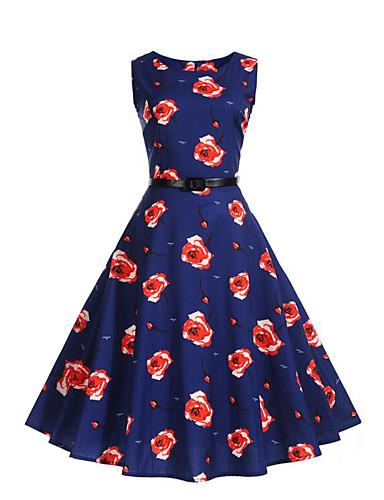 Mulheres Bainha balanço Vestido - Pregueado, Floral