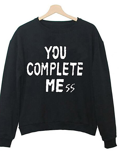 Women's Daily Sweatshirt Letter Round Neck Micro-elastic Cotton Long Sleeve Spring Fall