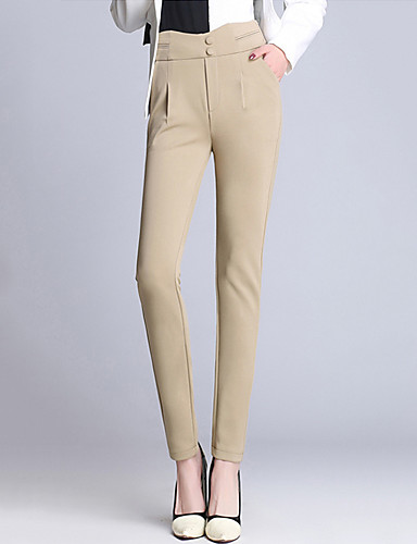 Women's Simple / Street chic Plus Size Skinny / Harem / Slim / Chinos Pants - Solid Colored High Rise