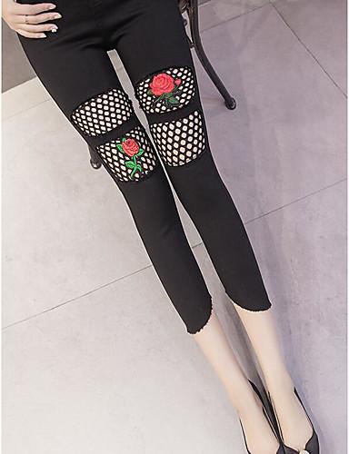 Damen Einfach Street Schick Mittlere Hüfthöhe Mikro-elastisch Eng Jeans Hose, Baumwolle Sommer Herbst Solide