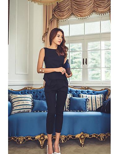 Damen Solide Einfach Ausgehen Lässig/Alltäglich T-Shirt-Ärmel Hose Anzüge,Rundhalsausschnitt Sommer Ärmellos Mikro-elastisch