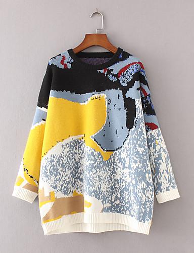 Damen Standard Pullover-Ausgehen Lässig/Alltäglich Einfach Street Schick Druck Einfarbig Rundhalsausschnitt Langarm Wolle Baumwolle