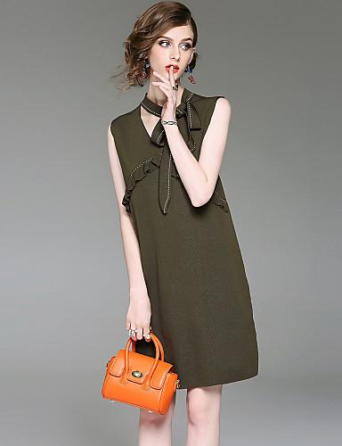 Damen Etuikleid Kleid-Ausgehen Lässig/Alltäglich Street Schick Solide V-Ausschnitt Übers Knie Ärmellos Polyester Sommer Herbst Mittlere