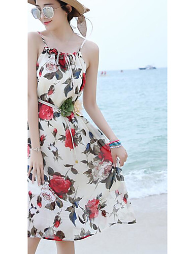 Damen Swing Kleid-Ausgehen Lässig/Alltäglich Strand Einfach Blumen Bateau Midi Ärmellos Baumwolle Sommer Mittlere Hüfthöhe Mikro-elastisch