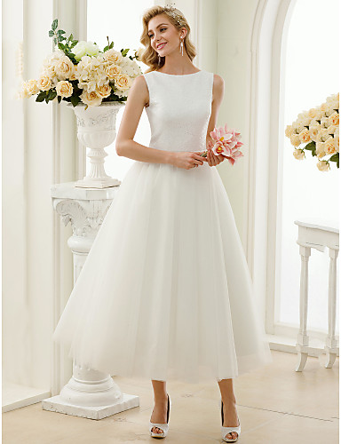 A-Line Bateau Neck Tea Length Tulle   Sequined Made-To-Measure Wedding  Dresses with Sequin   Lace by LAN TING BRIDE®   Little White Dress   Open  Back dc39fd85bba0