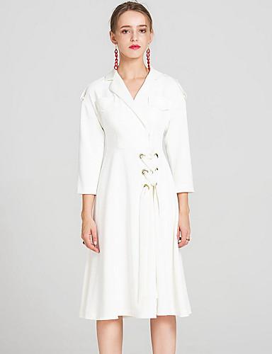 Damen Solide Einfach Lässig/Alltäglich Trench Coat,Hemdkragen Herbst Lange Ärmel Lang Elasthan