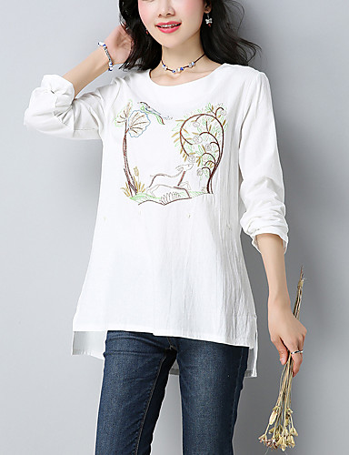 Damen Stickerei - Chinoiserie Baumwolle / Leinen T-shirt / Herbst
