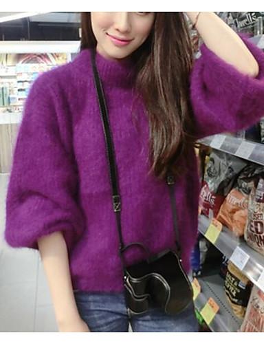 Damen Standard Pullover-Ausgehen Lässig/Alltäglich Retro Einfach Niedlich Solide Druck Ständer Langarm Wolle Baumwolle Polyester Herbst
