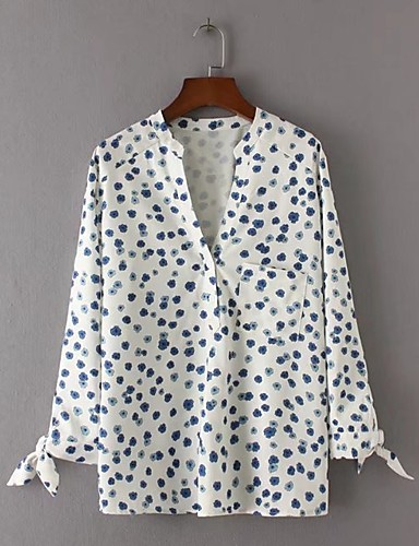 ed4980ac16ff8 Women s Going out Simple   Active Cotton Blouse - Polka Dot V Neck   Silk    Summer   Fall  06140629