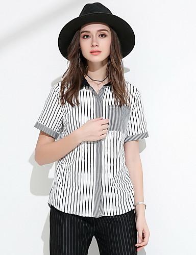 Damen Gestreift Einfach Ausgehen Hemd,Hemdkragen Sommer Kurzarm Polyester