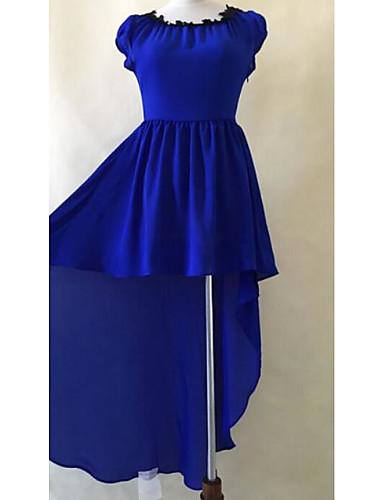 Damen Party Swing Asymmetrisch Kleid Solide Rundhalsausschnitt Kurzarm Sommer