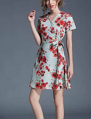 Damen Einfach Hülle Kleid Blumen Übers Knie V-Ausschnitt / Sommer