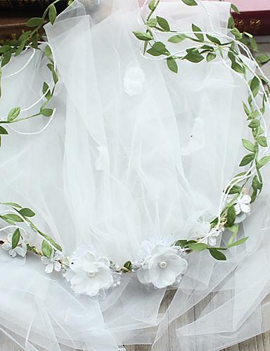 Egykapcsos Vágott szegély Menyasszonyi fátyol Pironkodó (blusher) fátylak A Gyöngydíszítés / Rátétek / Szatén virág Tüll / Fátyol