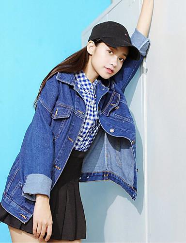Damen Solide Einfach Lässig/Alltäglich Jacke,Gekerbtes Revers Frühling Lange Ärmel Standard Andere