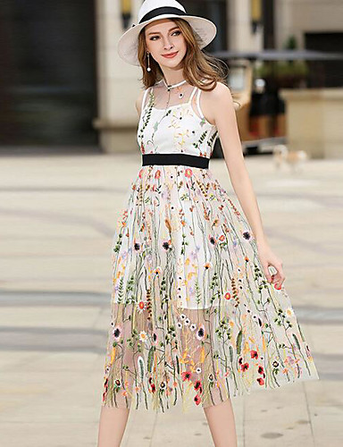 Damen A-Linie Kleid-Party Ausgehen Einfach Niedlich Blumen Rundhalsausschnitt Midi Ärmellos Seide Polyester Sommer Mittlere Hüfthöhe