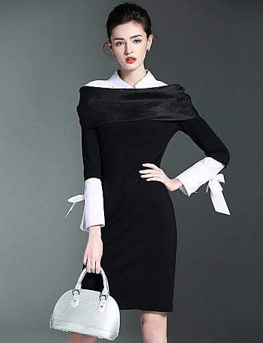 Damen Hülle Kleid-Lässig/Alltäglich Solide Einfarbig Hemdkragen Knielang Langarm Baumwolle Herbst Mittlere Hüfthöhe Mikro-elastisch Mittel