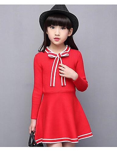 Mädchen Kleid einfarbig Baumwolle Frühling Herbst Lange Ärmel
