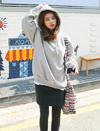 Damen Kapuzenshirt Lässig/Alltäglich Einfach Solide Druck Mikro-elastisch Baumwolle Lange Ärmel Herbst