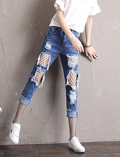 Damen Hohe Hüfthöhe Haremshosen Jeans Hose Solide