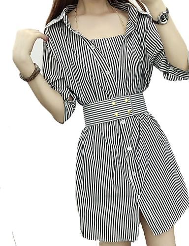 Damen Hülle Hemd Kleid-Ausgehen Lässig/Alltäglich Einfach Street Schick Gestreift Hemdkragen Übers Knie Halbe Ärmel Baumwolle Polyester