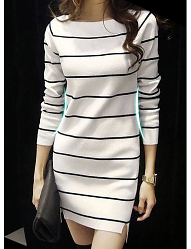Damen Lang Pullover-Lässig/Alltäglich Gestreift Quadratischer Ausschnitt Langarm Baumwolle Frühling Herbst Mittel Mikro-elastisch