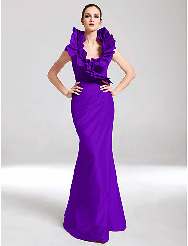 cheap Evening Dresses-Mermaid / Trumpet V Neck Floor Length Taffeta Formal Evening Dress with Side Draping / Ruffles by TS Couture®