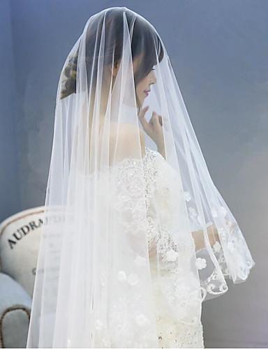 One-tier Lace Applique Edge Wedding Veil Chapel Veils 53 Appliques Tulle