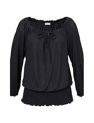 Damen Solide Sexy Lässig/Alltäglich T-shirt,Bateau Herbst Langarm Baumwolle Polyester Mittel