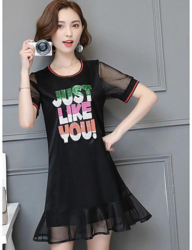Damen A-Linie Kleid-Ausgehen Solide Rundhalsausschnitt Übers Knie Kurzarm Baumwolle Sommer Mittlere Hüfthöhe Mikro-elastisch Dünn