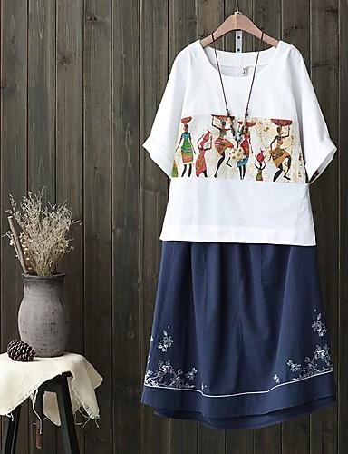 Damen Solide Druck Einfach Niedlich Street Schick Ausgehen Lässig/Alltäglich T-shirt,Rundhalsausschnitt Frühling Herbst Kurzarm Baumwolle
